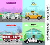transport. collection of four... | Shutterstock .eps vector #520011793