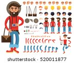 Man constructor. Man with photograph and bag. Separate part of male person. Icons with different emotions on face. Various types of faces. Front, side, back view of man. Bended hands, legs. Vector | Shutterstock vector #520011877