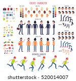 Create character. Set of different illustrations with body parts. Work. Rest. Sport. Hair style. Skin. Clothes. Emotions. Moves. Animated characters. Business, casual style. Cartoon design. Vector | Shutterstock vector #520014007