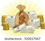 money set. paper money  stack...   Shutterstock .eps vector #520017067