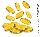 gold coins falling .vector... | Shutterstock .eps vector #520017643