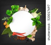 herbs and spices round frame... | Shutterstock .eps vector #520017697