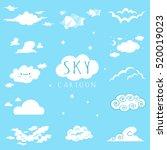 sky and clouds cartoon vector...   Shutterstock .eps vector #520019023