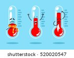 cute cartoon thermometer with... | Shutterstock .eps vector #520020547