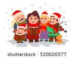christmas caroling. children... | Shutterstock .eps vector #520020577