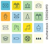 set of 16 christmas icons.... | Shutterstock .eps vector #520026493