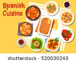 spanish seafood and meat dishes ... | Shutterstock .eps vector #520030243