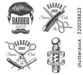 set of vintage barbershop... | Shutterstock . vector #520038823