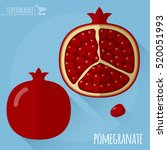 pomegranate.  long shadow flat... | Shutterstock .eps vector #520051993