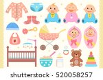 baby flat icons set.  | Shutterstock .eps vector #520058257