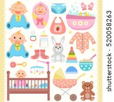 baby flat icons set.  | Shutterstock .eps vector #520058263