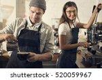 couple barista coffee shop... | Shutterstock . vector #520059967