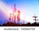silhouette antennas on sunset...   Shutterstock . vector #520062703