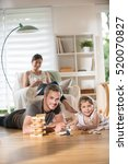 cheerful family at home  daddy... | Shutterstock . vector #520070827