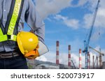 engineer holding a yellow... | Shutterstock . vector #520073917