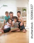 at home  cheerful family of... | Shutterstock . vector #520081327