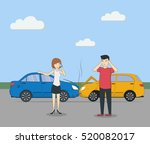 head on collision. car accident.... | Shutterstock .eps vector #520082017