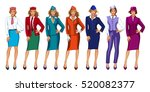 charming stewardess dressed in... | Shutterstock .eps vector #520082377