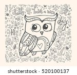 cute owl  floral pattern. hello ... | Shutterstock .eps vector #520100137