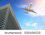 modern tower with airplane... | Shutterstock . vector #520104223
