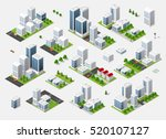 isometric set 3d city three...