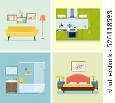 set of interior design room .... | Shutterstock .eps vector #520118593