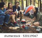 friends camping eating food...