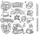 set of 3d movie design elements ... | Shutterstock .eps vector #520124257