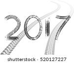 tire tracks . new year 2017.... | Shutterstock .eps vector #520127227