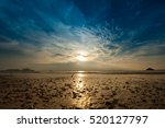 sunset on the beach with... | Shutterstock . vector #520127797