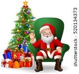 cartoon santa claus sitting on... | Shutterstock .eps vector #520134373