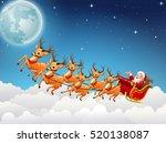 santa claus rides reindeer... | Shutterstock .eps vector #520138087