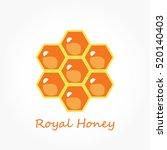 seven orange hexagons of bee... | Shutterstock .eps vector #520140403