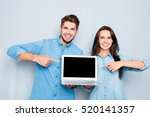 happy man and woman showing... | Shutterstock . vector #520141357