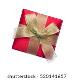 red gift box with ribbon... | Shutterstock . vector #520141657