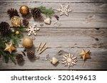 golden decoration on old wooden ... | Shutterstock . vector #520149613