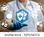 doctor presses health insurance ... | Shutterstock . vector #520156213