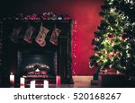 beautiful christmas living room ... | Shutterstock . vector #520168267