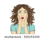 wow.close up portrait surprised ... | Shutterstock .eps vector #520192243