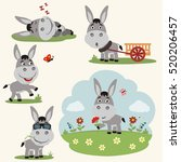 Vector Set Donkey In Different...