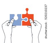 hands joining puzzle piece  ... | Shutterstock .eps vector #520210237