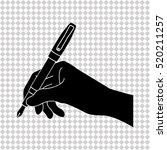 hand with pen   black  vector... | Shutterstock .eps vector #520211257