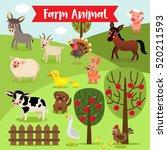 Farm Animals Cartoon And Apple...