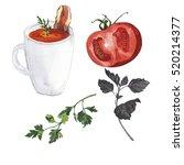 red vegetable soup in white mug ... | Shutterstock . vector #520214377