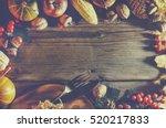 frame with seasonal ingredients ... | Shutterstock . vector #520217833