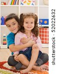 little boy embracing his sister ... | Shutterstock . vector #52022632