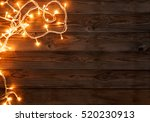 christmas dark brown wooden... | Shutterstock . vector #520230913