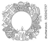 Christmas Round Frame In Doodl...