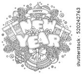 new year composition in doodle... | Shutterstock .eps vector #520242763