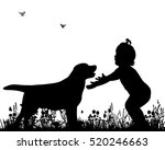 Stock vector silhouette child and dog friendship 520246663